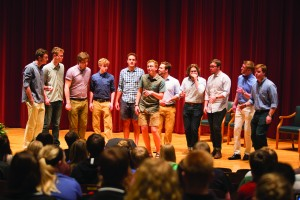 BROCAL CHORDS gave a surprise performance at President Maxwell's last lecture in Sheslow Auditorium last week. PHOTO COURTESY OF DRAKE UNIVERSITY.