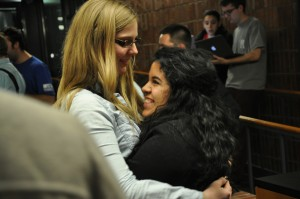 Anguiano, hugs a supporter shortly after finding out she had won the election for president. PHOTO BY JESS LYNK | NEWS EDITOR
