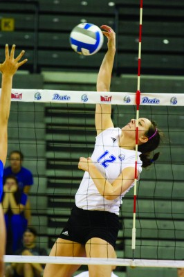 Senior outside hitter Amanda Platte was one of the three Bulldog seniors honored this weekend. File photo.
